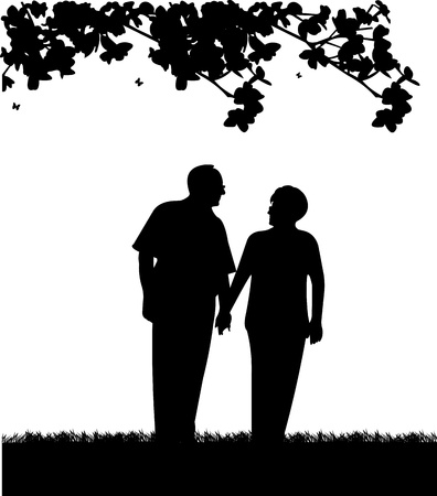 20482238 - lovely retired elderly couple walking in park, one in the series of similar images silhouette