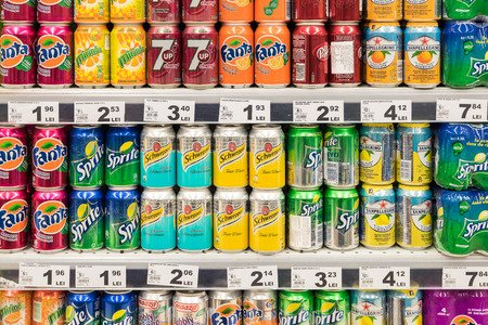 37082457 - bucharest, romania - february 22, 2015: soda drinks on supermarket stand.